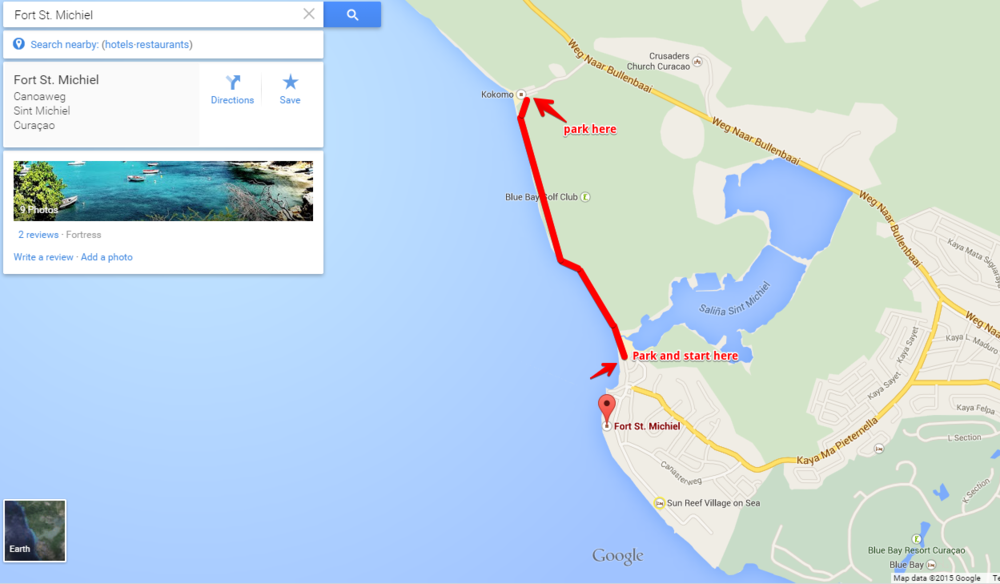 Clicking Here or on the map will take you to Google.maps recommendation for how to walk. Google isn't always right ;-). St. Michiel to Kokomo Beach Curacao Secret Hiking Trail