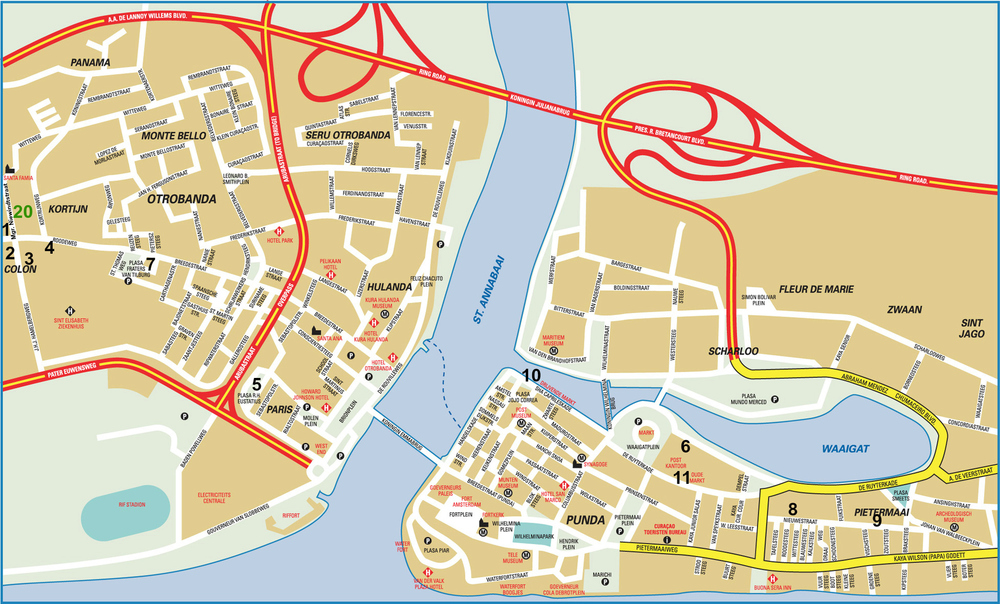 Map Of Central Willemstad, Curacao. Click to see street names, and Bario of: Otrobanda, Punda, Scharloo and Pietermaai.