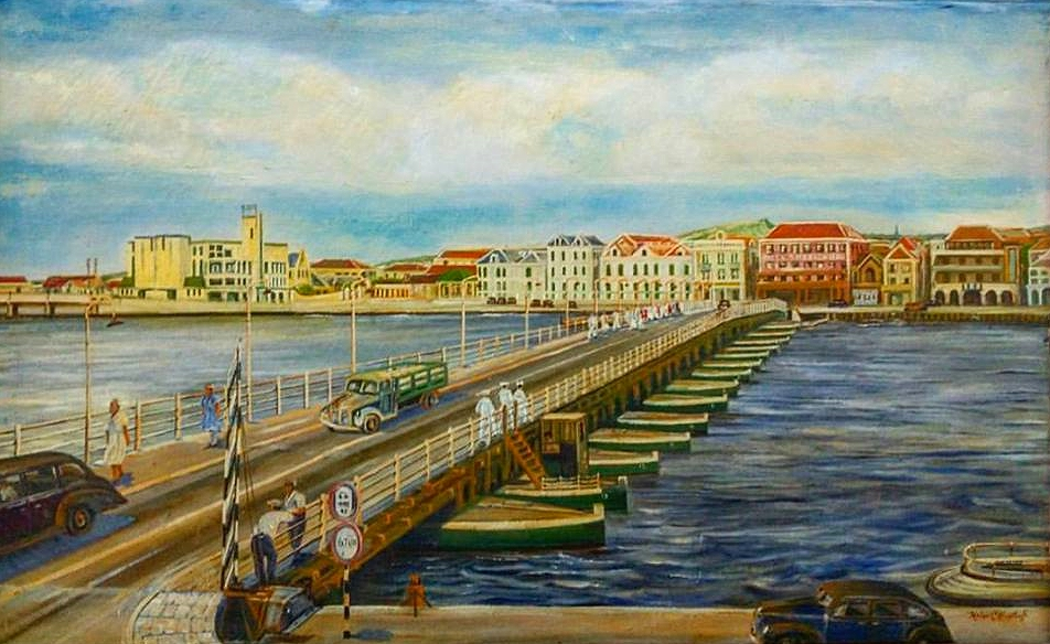 This WWII era painting can be viewed in the Curacao Museum. Mundo Nobo, Otrobanda (also visible at the end of the Queen Emma Bridge)