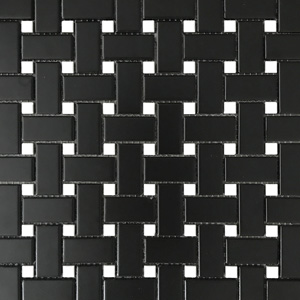 Basketweave Black with White Dots