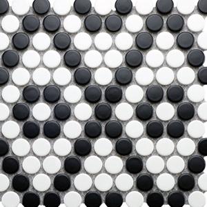 Argyle Penny Round - White with Black