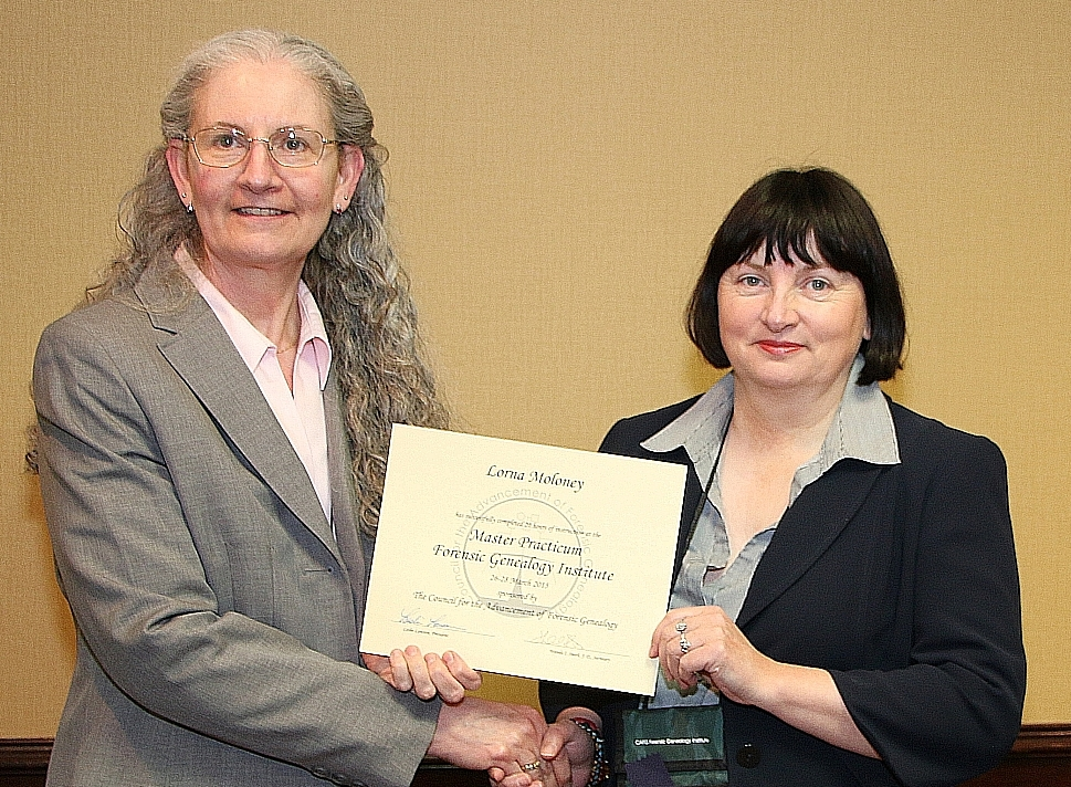 Leslie Brinkley Lawson, President of CAFG presented the Certificate for the Advancement of Forensic Genealogy in Dallas on March 28, 2015.
