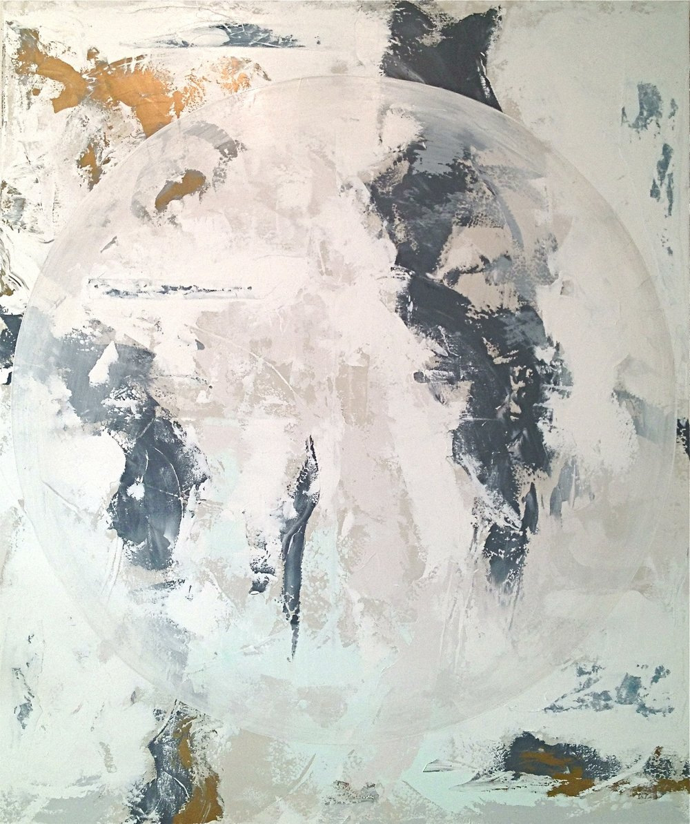 "Spherical FM, acrylic & denim on canvas, 72""x 60"""