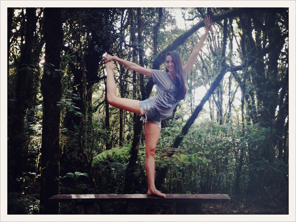 the real reason i did barre: for photo opps in exotic locations (La Tigra National Rainforest, Honduras)