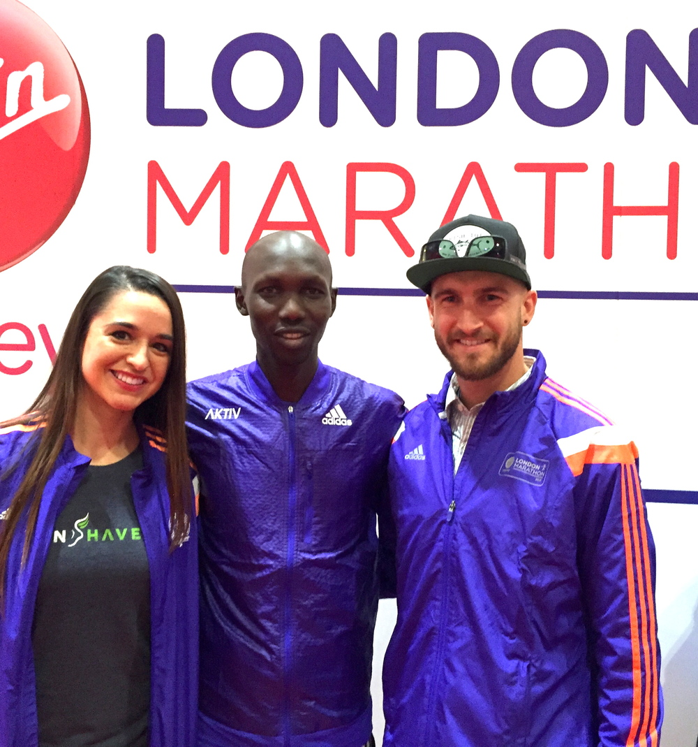 Dream come true getting to meet Wilson Kipsang. Having watching plenty of videos of him running in a marathon (most beautiful stride I've ever seen) it was such an honor to meet him. Icing on cake? The three of us matching!