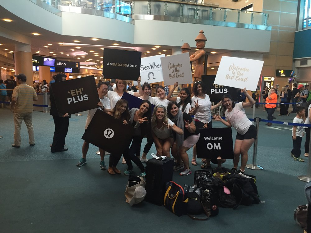 welcomed at the airport by the best lulu crew. OMG. i was dying laughing and smiling. so great.