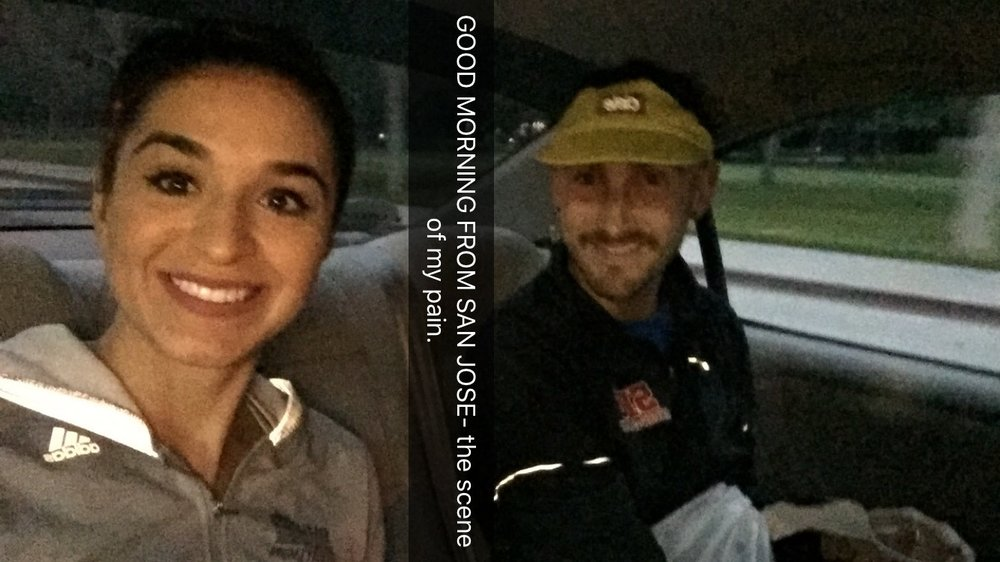 literally in the uber over- happily snapchatting and in complete denial about running