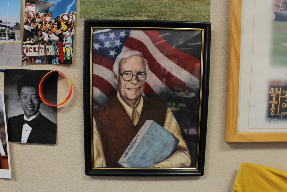 One of the most recent additions to the wall is a drawing of Bill Boggie, a former U.S. history teacher, from a student. Boggie began the Hall of Fame, was awarded the Spirit Fame, and made Cupertino High School begin to appreciate its history.