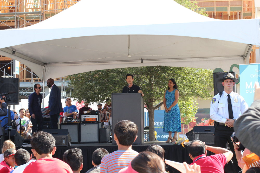 Evan Low speaking at the ribbon cutting ceremony