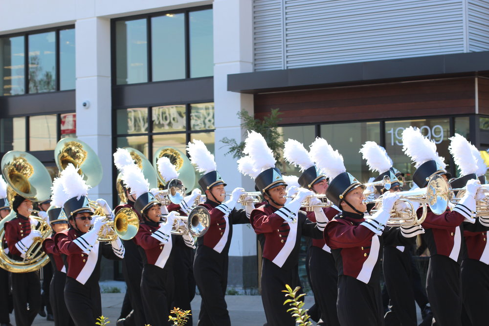 main stCHS Band parading through the streets of Main St Cupertino.JPG