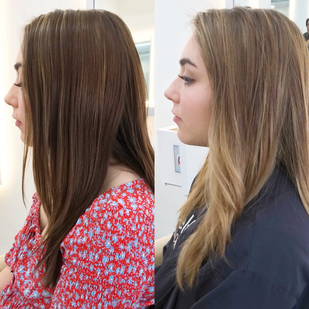 Left : Before Balayage Right : After balayage  photo by chinatsu ohtsu