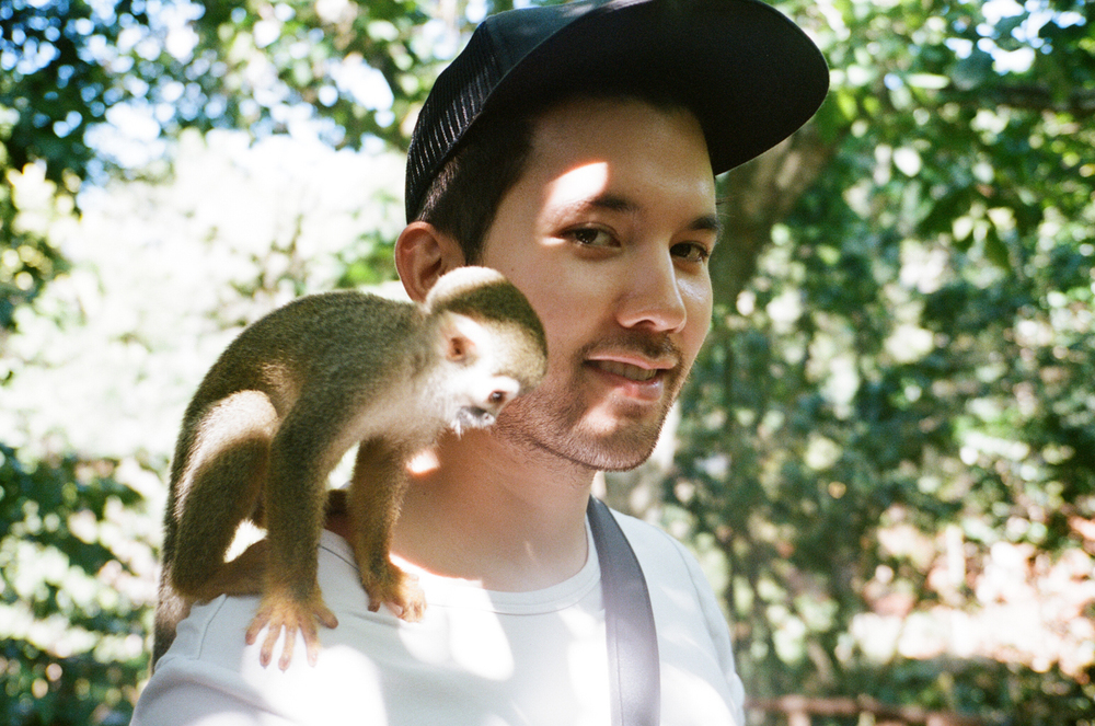 Chris Lew in the monkey jungle. Dominican Republic.