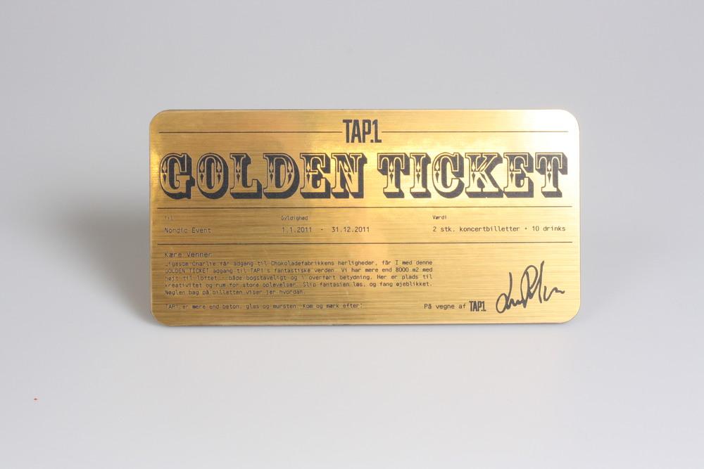 Lasergravering på en guldbillet