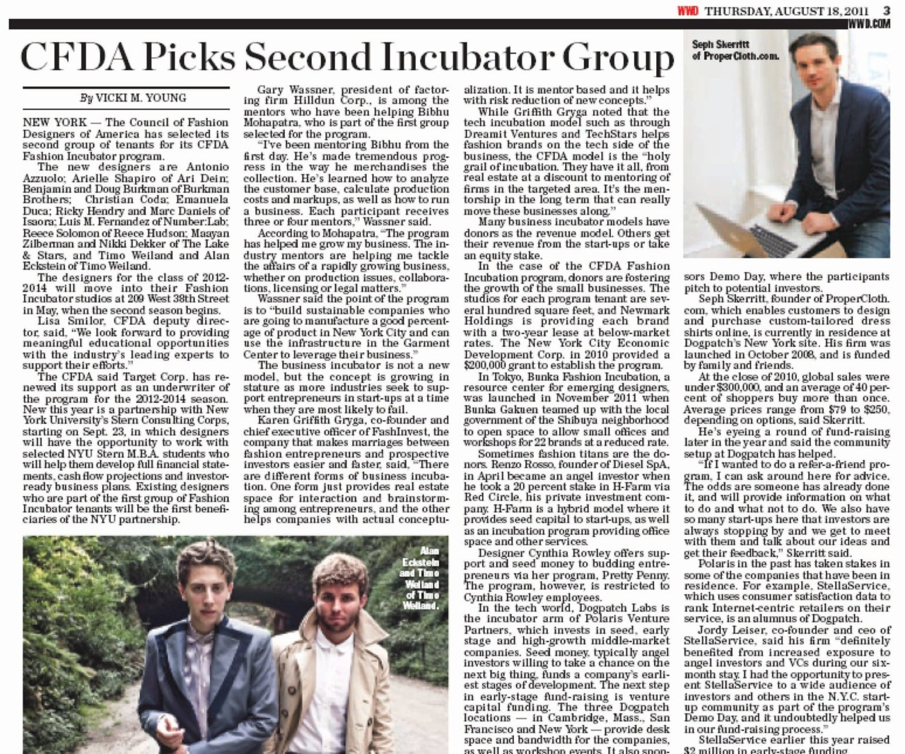 thrilled for you  reece !     reecehudson :     Reece Hudson & The CFDA Fashion Incubator featured by WWD / August 18, 2011