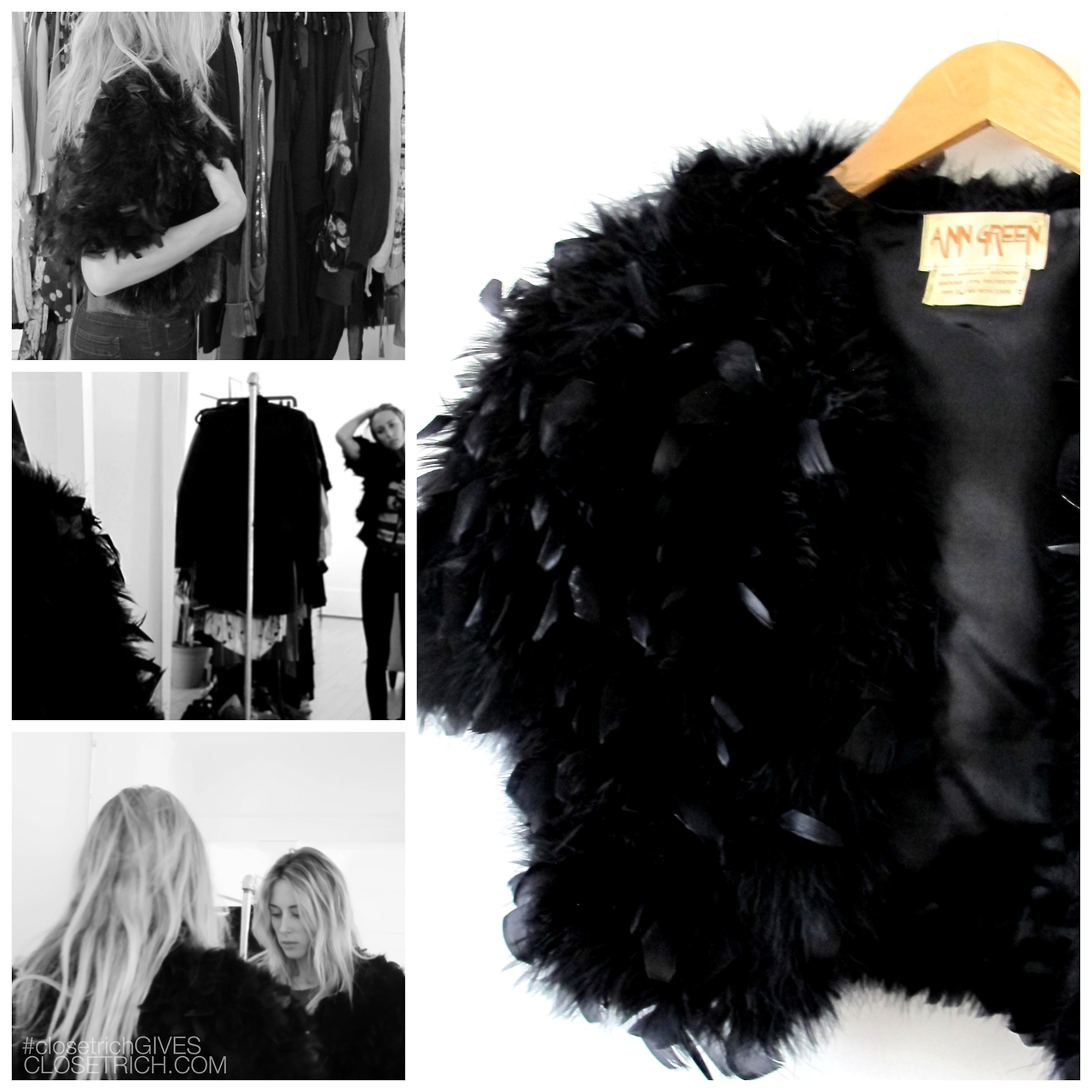 From Gillian Zinser's closet: Vintage 100% marabou feather cropped jacket, $450 exclusively on closetrich.com
