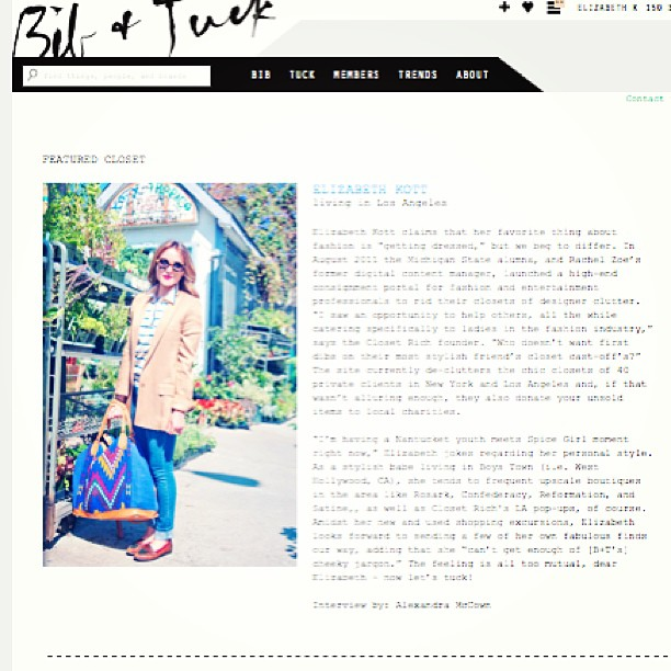 Wanna Tuck?! check out @elizabethkott's closet featured on @bibandtuck. Such fans of this site!! 👗👠👛👓👍