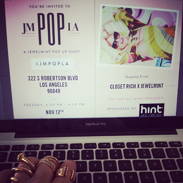 Finalizing details for our pop up with @jewelmint next week @ #JMPOPLA… while wearing @jewelmint. Rsvp@closetrich.com