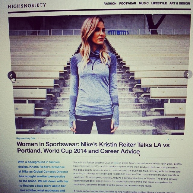 Rich Gang Moment: @kristinreiter talks @nike…and more importantly debuts new hair color on @highsnobiety #richest