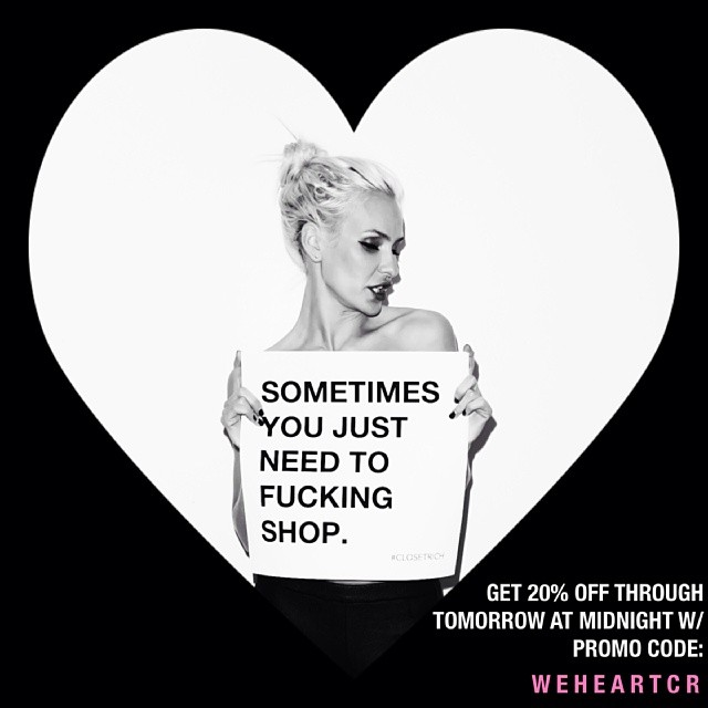 20% off for the next 24 hrs w. promo code: WEHEARTCR xx, your secret admirer's secret admirer
