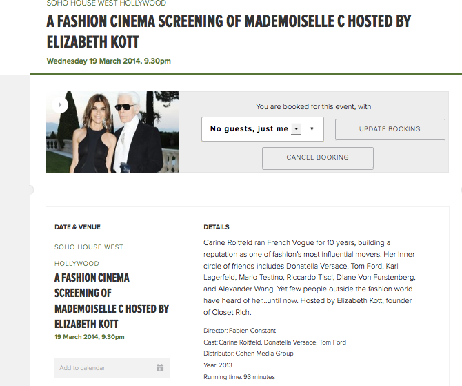 Looking forward to our fourth Fashion Cinema Screening at Soho House, Carine Roitfeld's Mademoiselle C.