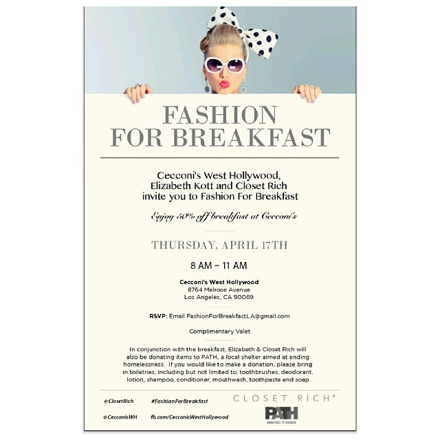 Excited to be hosting the #fashionforbreakfast series + donation drive for @pathpartners tomorrow at @cecconiswh. A few spots still left, email fashionforbreakfastLA@gmail.com to rsvp ♡ (at Cecconi's West Hollywood)