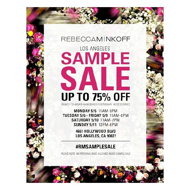 This is a PSA: the #rmsamplesale is happening this week. Go! Buy things! Get high fives from @okgeorgie & @jessicaamento! Enjoy! cc @rminkoff_la @rebeccaminkoff (at Rebecca Minkoff)