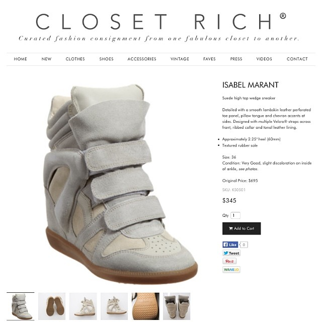 Fave item on the site right now. @isabelmarant sneaker wedge, sz. 36. aka short girl hangover footwear magic (at Soho House West Hollywood)