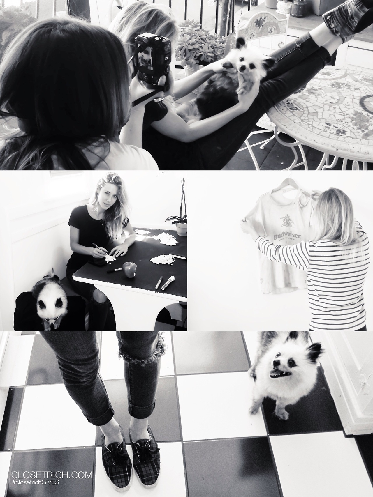 Some behind the scenes snaps from our #closetrichGIVES shoot ft. 2 fave pieces from the sale: Vintage Budweiser Tee + a pair of perfectly worn Vintage Sneakers + bonus pts. for the cameo by the cutest fucking dog ever.
