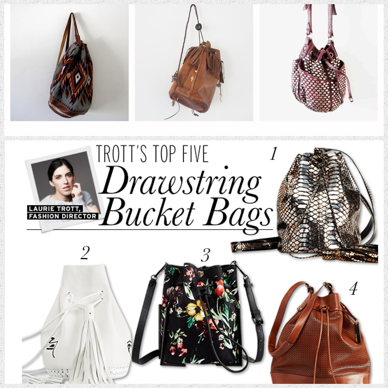 Closet Rich  +  WhoWhatWear , are on top of the Bucket Bag Movement! Check out the 3 above selects from Gillian Zinzer's curated vintage selection exclusively available on  ClosetRich.com  - 50%of the proceeds will go to  Waves For Water 's Hurricane Sandy Initiative.