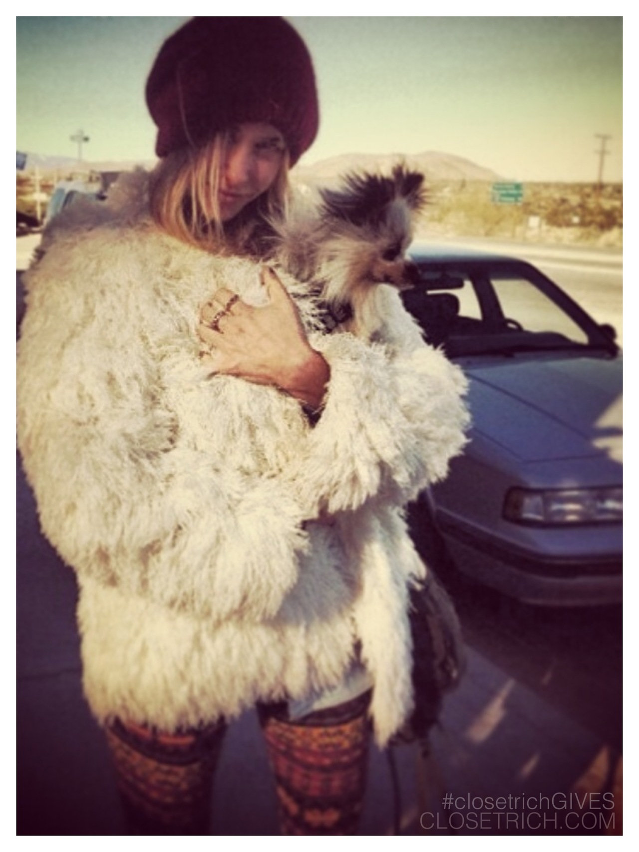 This AMAZING vintage shag coat is sold out, but we have more incredible vintage from Gillian Zinser's insanely fab closet exclusively available on closetrich.com - 50% of all sales from the sale are going to Waves For Water's Hurricane Sandy Relief Initiative (p.s. the cashmere beanie in the pic is up for grabs too!)