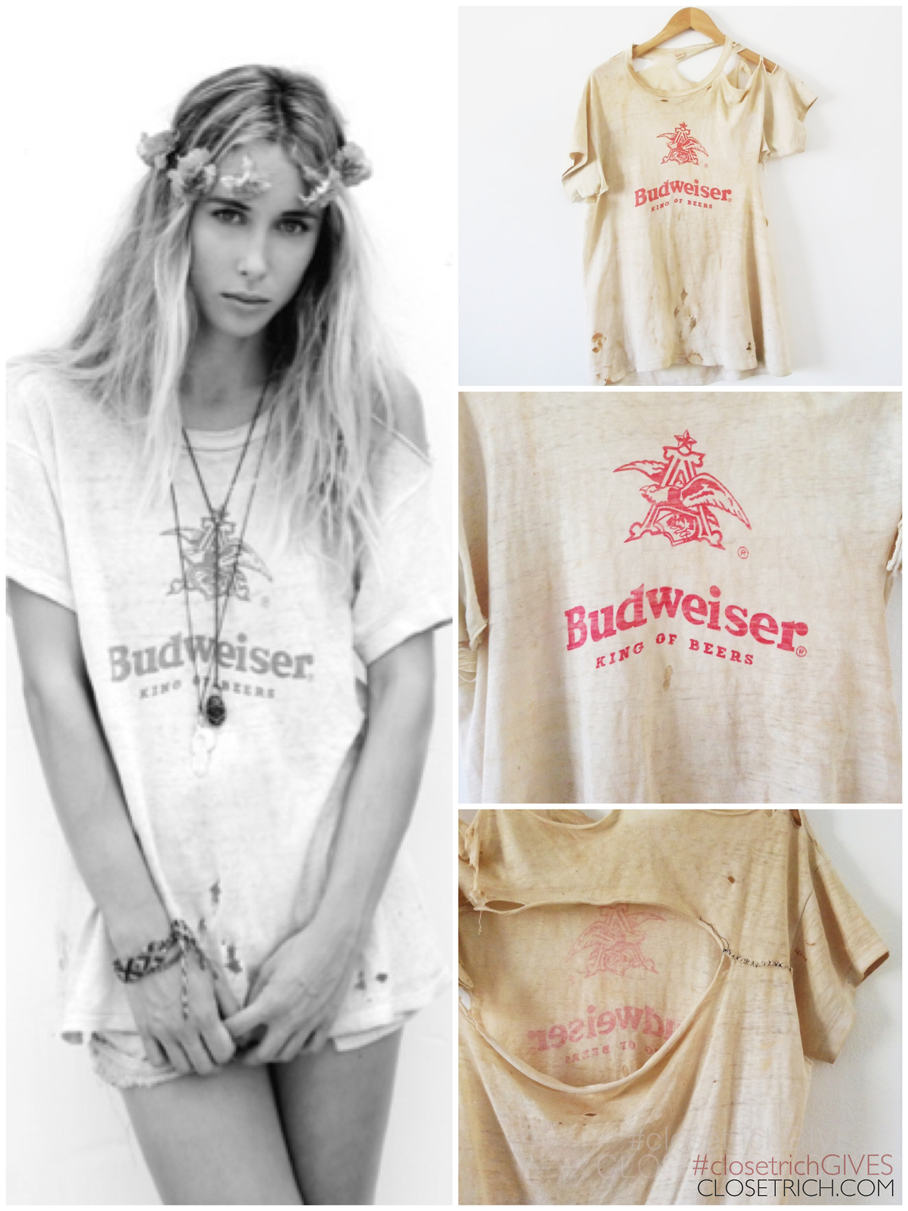 Gillian Zinser's  Vintage Budweiser Tee , $200           **50% of proceeds from this sale are going to Waves for Water's  Hurricane Sandy Relief Initiative