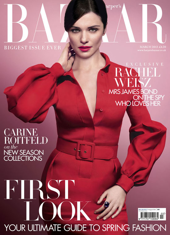 styledon: Rachel Weisz look stunning in Gucci on the cover of Harper's Bazzar UK. Which March covers are your favorite? Take our poll here! pretty!