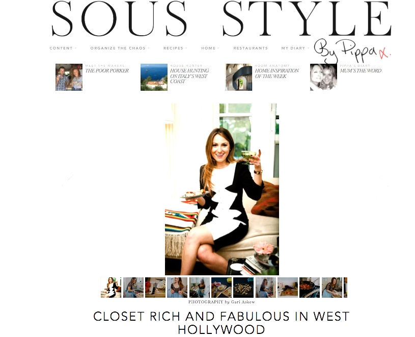 O.M.F.G. Closet Rich on Sous Style! Here's a fun list from the interview, read the rest here. My TOP 5 Meals 1. Breakfast Salad (with a side of Honey Chipotle Sauce) at Hugo's in West Hollywood 2. Shwarma Pita at Beirut Express, London 3. Banana Almond Shake with Coconut Milk from Beverly Hills Juice Company in LA 4. Blueberry Steak from Aqua al 2 in Florence, Italy 5. Turkey Sandwich from Gurney's Harbor Bottle Shop in Harbor Springs, Michigan FYI - wearing Kelly Wearstler's 'Dezza' dress