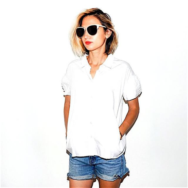 Miu Miu collared cropped white button up, $132.00 (size: 38) #miumiu #paris #designer #fashion #style #white #collared #buttonup #whitetop #blouse #lotd #ootd #summer #trends #summerstyle #summerfashion #looks2try #whatiwore #closetrich