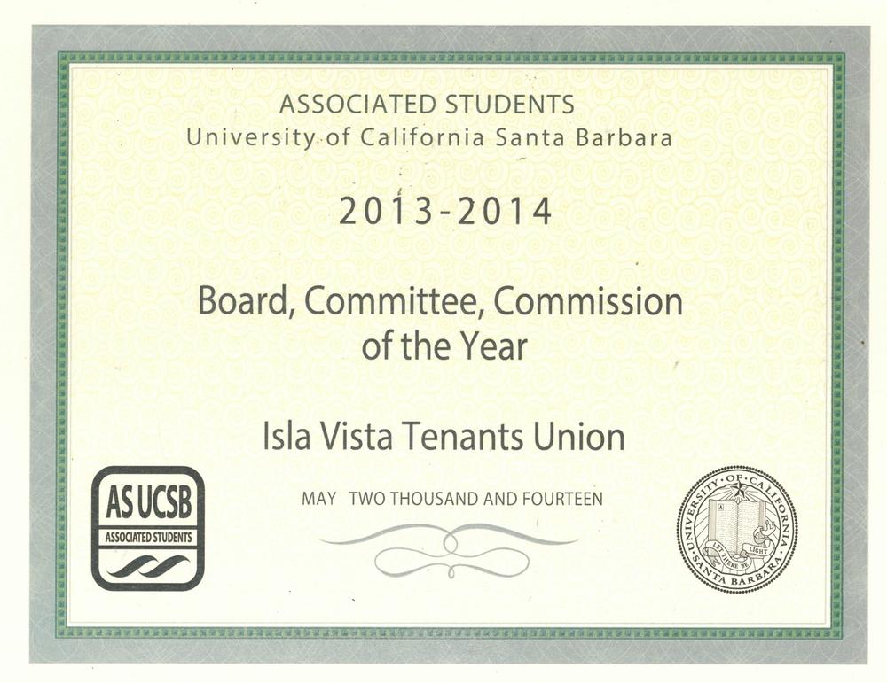 IVTU '14 Award