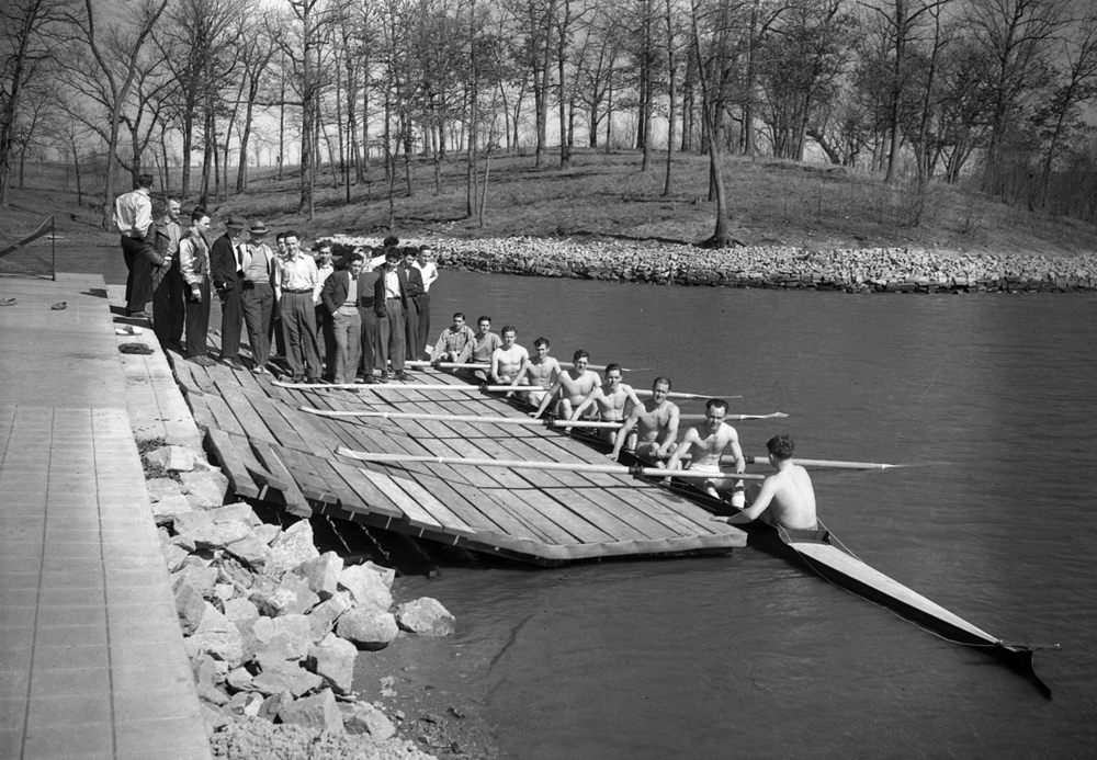 It looks as if these guys are headed out for some exercise or training for a race. In fact, members of the Springfield Rowing Club launched a wartime training program for local oarsmen at Lake Springfield on this day in 1942. Senior crewmen who had not been called for military service are in the rowing shell, and they provided the instruction for young men recruited from local high schools, who learned the importance of teamwork. Seated in the shell are Karl Luthin, ensign, Herbert Rockelman, Philip Bisch, Frank Pence, Paul Nolan, Charles Davis, Malden Jones, coach, and Jerry Tucker, commodore. Published March 22, 2014. File/ The State Journal-Register