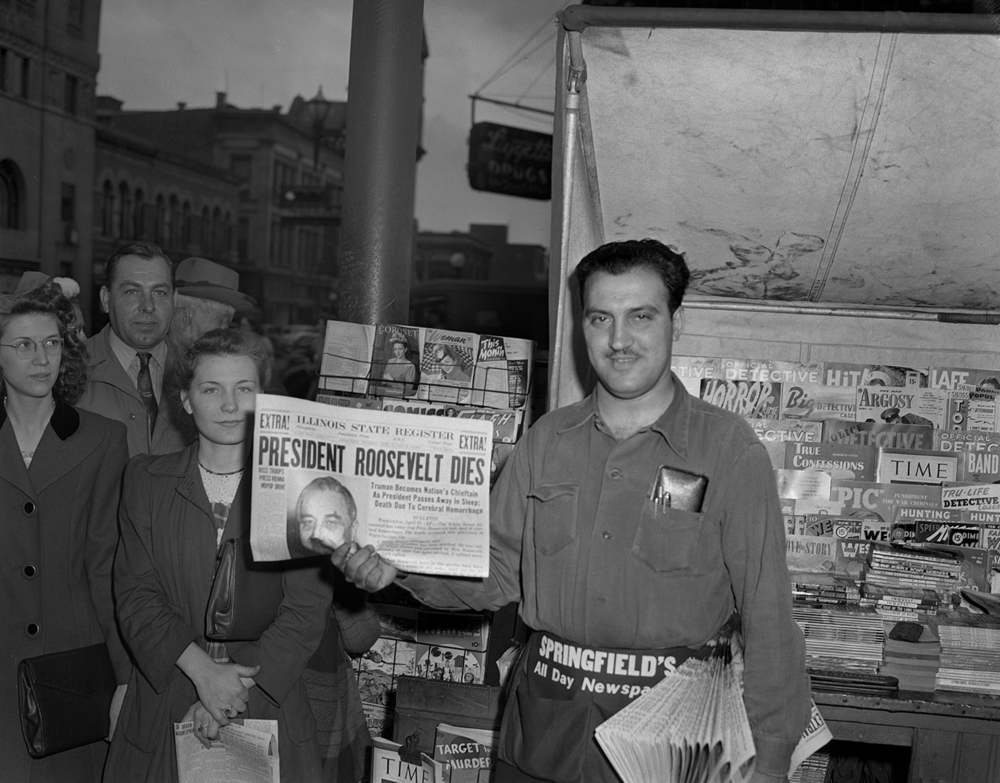 It wasn't instantaneous, as much of today's news is distributed throughout the world. But it was an admirable effort for The Illinois State Register to have an extra edition of the afternoon paper on the streets this day in 1945, less than an hour after the Teletype machines in the newsroom began rattling with the news that President Franklin Roosevelt had died at his retreat in Warm Springs, Ga. Louis Kamees owned a newsstand on the corner of Fifth and Monroe streets and saw a steady stream of customers line up to buy a copy. 