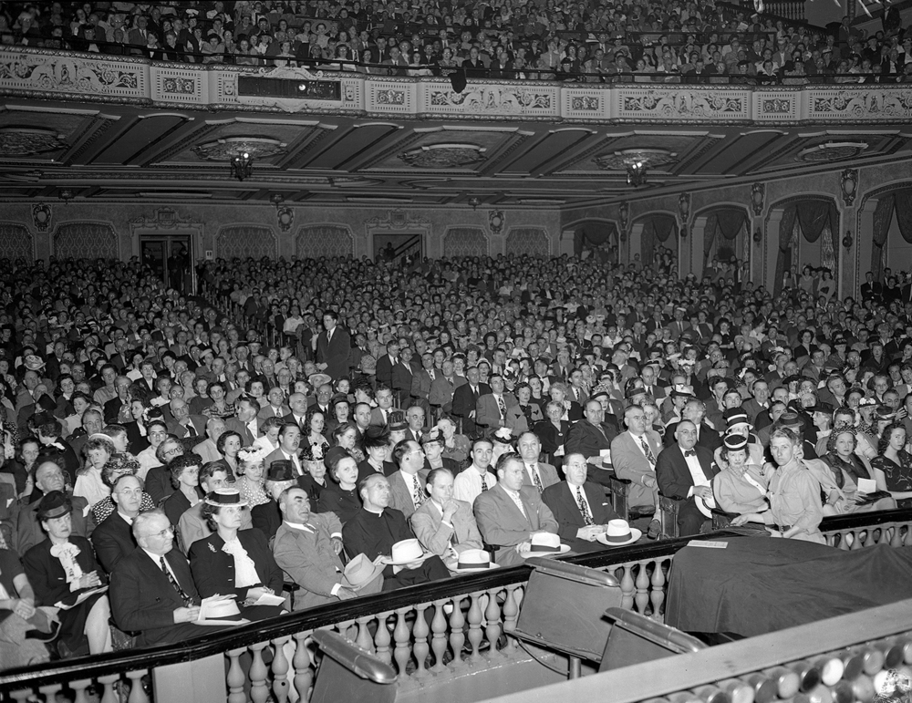 "A town hall meeting on the subject of labor union regulation, broadcast live to the nation by the ABC radio network, filled the Orpheum Theater in June 1946. On the stage were Henry J. Taylor, journalist and author of ""Men and Power,"" who criticized what he termed excessive power in the hands of labor leaders. Many of those labor leaders keep their power, he said, by ""political influence and they abuse it through political connivance."" He told the crowd of 4,000 and radio listeners tuned in across the country, ""When I hear one man say he has $47 million and he will use $47 million to beat a president of the United States, that sounds like power to me. And I don't like it."" Presenting the opposing view was Lee Pressman, general counsel for the Congress of Industrial Organizations, a federation of labor unions. It was also known as the C.I.O. Pressman countered with the argument that the growth of labor unions in the previous 10 years had ""incurred the undying enmity of arrogant industrial barons who still yearn for the archaic era when their word was law, and they dictated the working conditions for American workers."" The spirited discussion continued in the same back and forth manner and ""sparked pointed and sometimes caustic retorts"" among participants, according to the Illinois State Journal. Published June 28, 2014. File/The State Journal-Register"