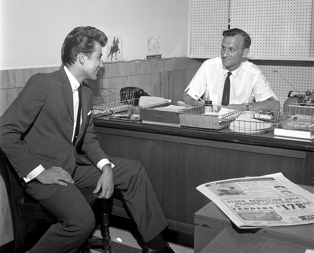 "Illinois State Journal and Register entertainment writer Wayne Allen interviews Charleston, Ill. native, Jack Chaplin, 19, (Chaplain)., July 5, 1948. Chaplain was an aspiring TV and movie star who was in movies such as Git! (1965) and TV shows such as Bonanza (1959), Laramie (1959), Wagon Train (1962) and Gunsmoke (1968). At the time of this interview, he was in Illinois to star in Sullivan's Grand Theater production of ""Bye, Bye Birdie."" He died on April 25, 2008 in Los Angeles, California, USA. File/The State Journal-Register"