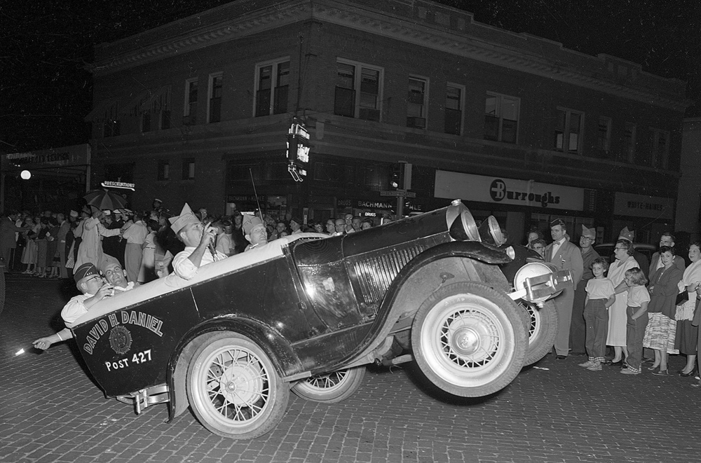 American Legion stunt cars in parade, Sept. 3, 1955.