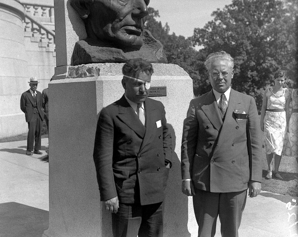 Just two months after flying solo around the world in a high-wing, single-engine Lockheed Vega, one of the fastest aircraft of the period, Wiley Post visited Springfield on a tour celebrating his feat. During this brief visit on Sept. 20, 1933, he paid tribute at Lincoln's Tomb with Mayor John Kapp. The achievement brought him fame that rivaled Charles Lindbergh's, lunch at the White House and a ticker tape parade in New York. Despite a limited formal education, Post was a pioneer in embracing the newest aviation technology, employing a just-developed autopilot device and radio detection finder that allowed him to make his famous flight without a navigator. The dangers of flying in those days, however, were just as much a risk for Post as they were to any pilot, despite his skill. On his flight from Springfield to the next stop on his tour, he crashed near Quincy and suffered a fractured skull and other injuries. The remainder of his tour was cancelled, but during his recovery, he helped develop with the B.F. Goodrich Co., the first pressure suit for high altitude flying. In his first test of the suit, he reached an altitude of 40, 000 feet over Chicago, eventually climbing to 50,000 feet. He is also credited with discovering the jet stream. In August of 1935, Post and his longtime friend, humorist Will Rogers, were killed when a plane he had modified crashed near Point Barrow, Ala. File/The State Journal-Register