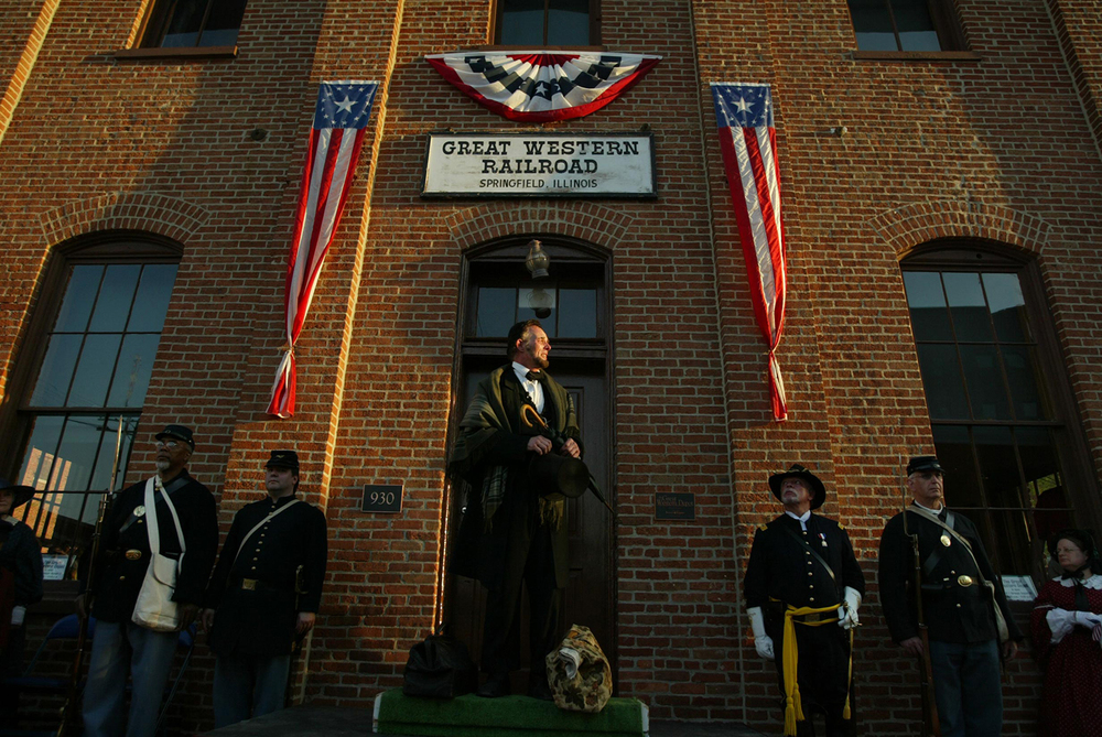 A re-enactment of Abraham Lincoln's farewell address to Springfield presented by Fritz Klein at the Great Western Railroad Depot (Lincoln Depot). File/The State Journal-Register