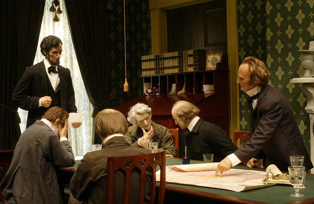 An exacting reproduction of Lincoln's White House office depicts the moment Lincoln unveils to his cabinet his plan to issue an Emancipation Proclamation. Each in their own way disapproves. Some say it goes too far, others not far enough; a few believe it is political suicide. Ted Schurter/The State Journal-Register