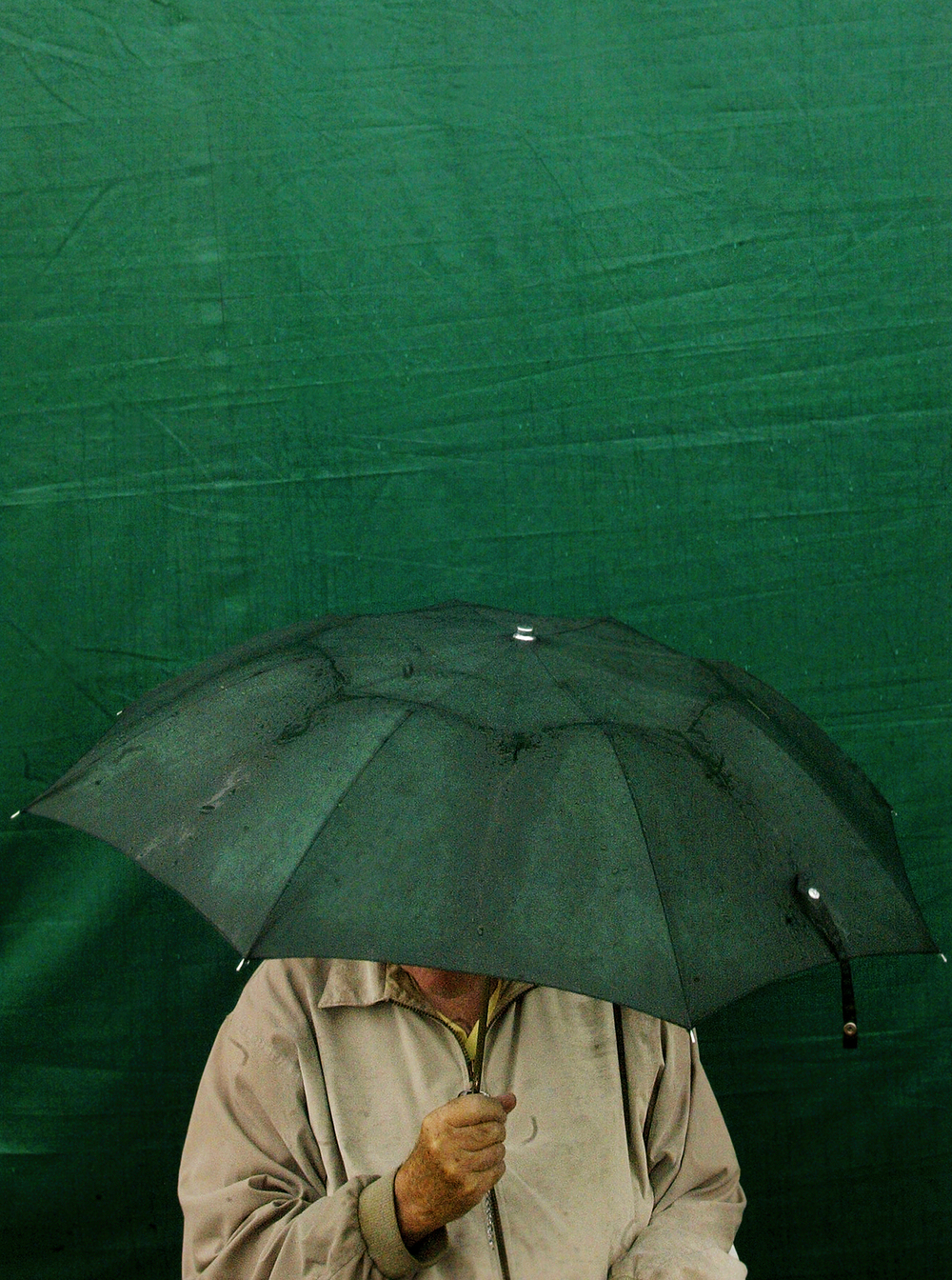 Don Presley waits out rain under his umbrella at The Rail Golf Course during the LPGA State Farm Classic. Ted Schurter/The State Journal-Register