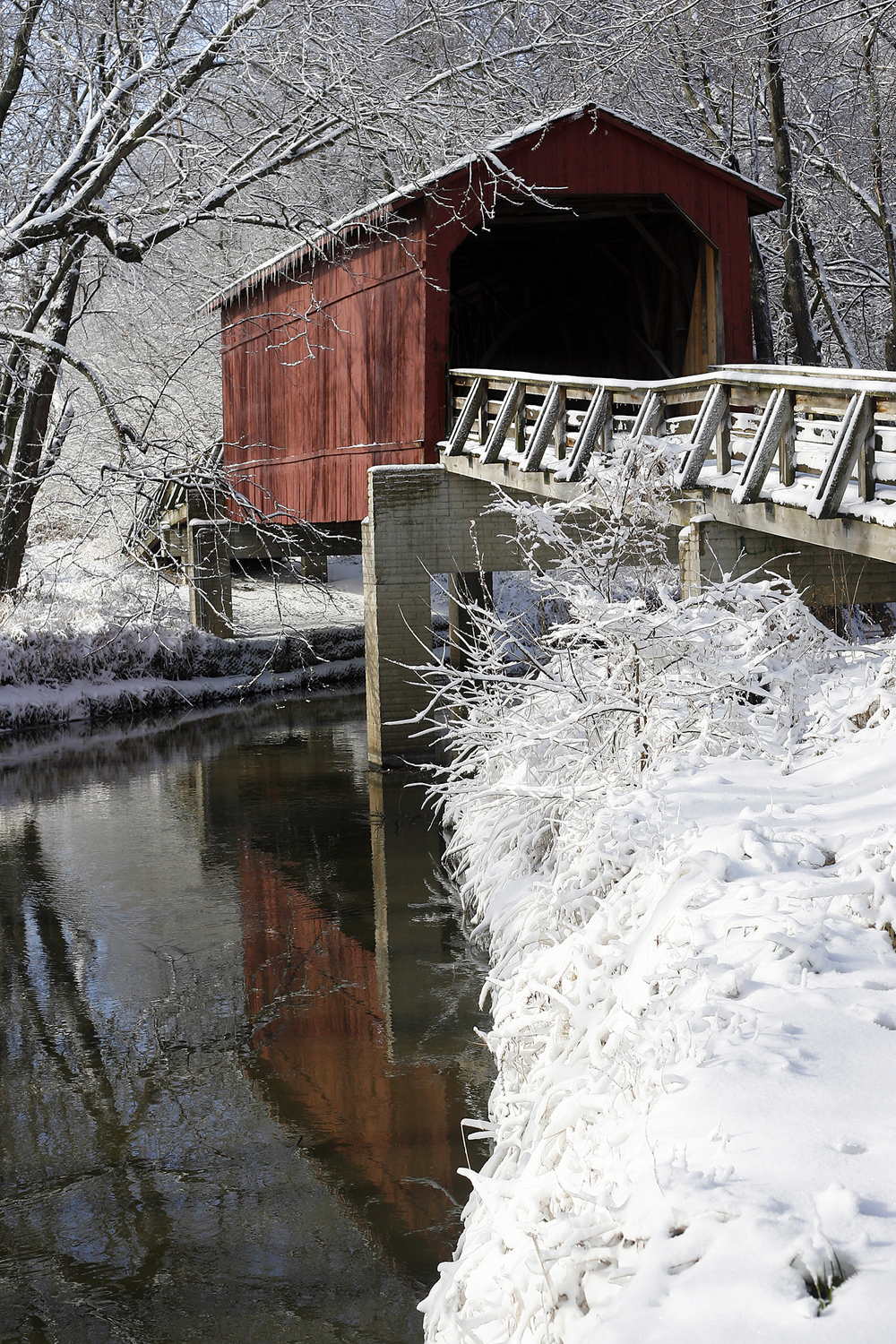 pristine snow surrounds sugar creek covered bridge near chatham  kendra helmer  the state journal