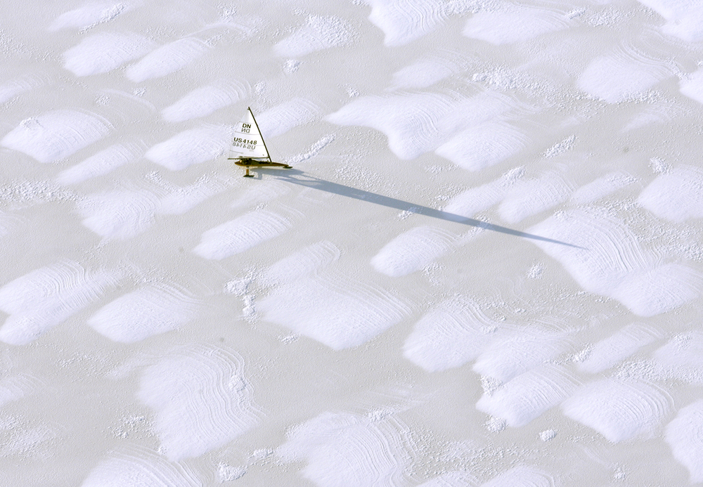 An ice sailer makes his way across the frozen waters of Lake Springfield. Ted Schurter/The State Journal-Register