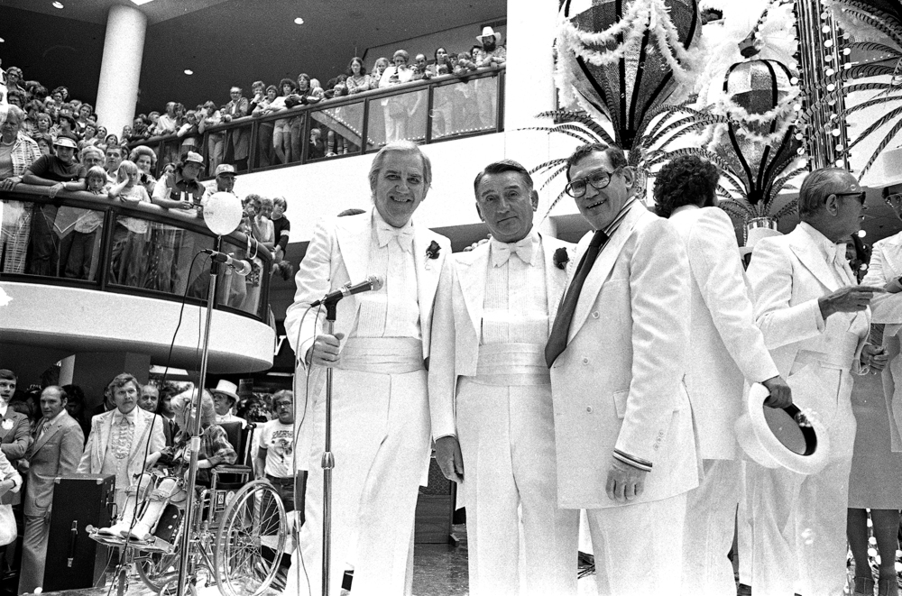 Ed McMahon was the master of ceremonies for the big show in center court of White Oaks Mall on Aug. 24, 1977.  With McMahon on stage are Springfield Mayor William Telford and the mall's developer, Mel Simon.   File photos/The State Journal-Register