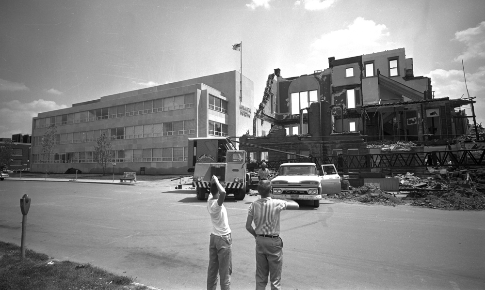 City offices had moved into the new Municipal Center in January 1961. The old City Hall was razed in June. Top, Stanley Stehman, owner of the demolition company that razed the building, saved the tower clock. He reportedly had several interested buyers. File photos/The State Journal-Register
