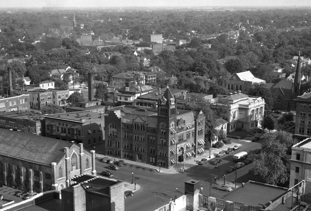 Old City Hall anchored the southeast corner of Seventh and Monroe streets. In a view from 1948, St. Mary's Church is on the left and on the right is the old Lincoln Library, a building funded in part by Andrew Carniege.