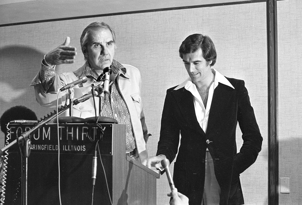 Television personality Ed McMahon and soap opera star Tom Hallick appeared at a press conference at the Forum Thirty, now Springfield Hilton, before the grand opening.